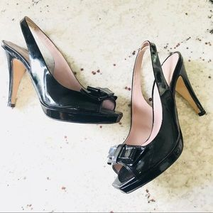 Shoe Box Black Peep Toe Patent Leather Shoes Heels